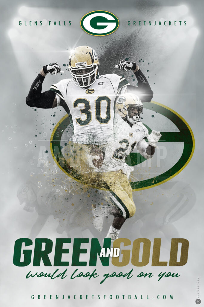 Glens Falls Greenjackets football team recruitment poster design